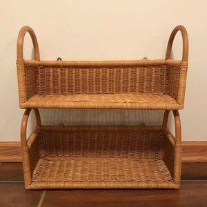 Vintage pair of rattan/wicker shelves with basket